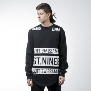 Mass Denim sweatshirt bluza Dyme crewneck long fit black BLAKK