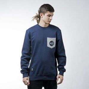 Mass Denim sweatshirt bluza Pocket Signature crewneck navy