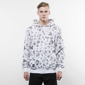 Mass Denim bluza hoody Tattoo Zip white