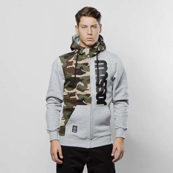 Mass DNM bluza Sweatshirt Hoody Zip Half Camo - light heather grey