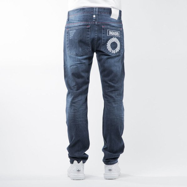 Mass Denim spodnie jeans Conversion tapered fit distressed  blue BLAKK