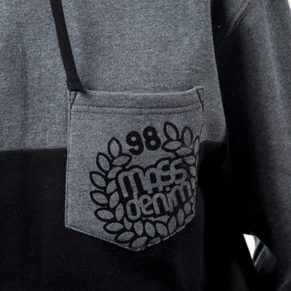 Mass Denim  sweatshirt bluza Pocket Base hoody black / dark heather grey