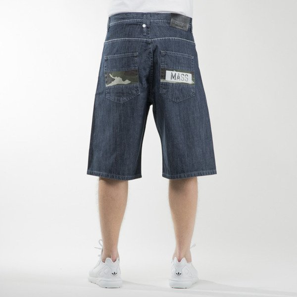 Mass Denim szorty shorts jeans Battle baggy fit dark blue