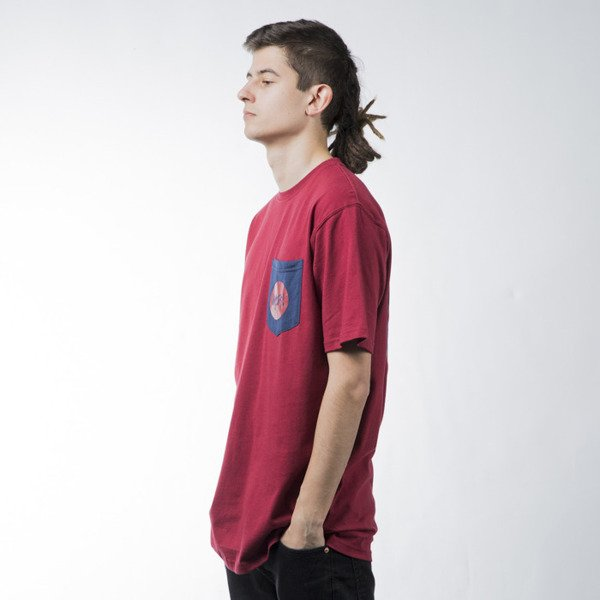Mass Denim t-shirt koszulka Pocket Signature claret